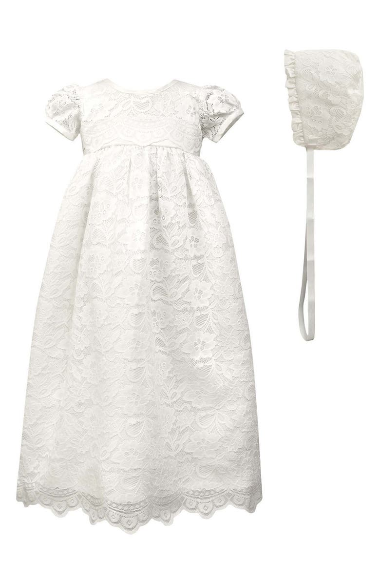 C.I. CASTRO & CO. Scalloped Lace Christening Gown & Bonnet, Main, color, 100