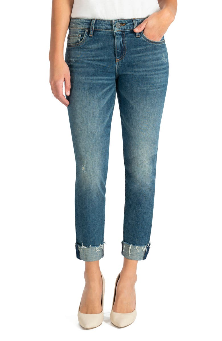 KUT FROM THE KLOTH Catherine Distressed Boyfriend Jeans, Main, color, DECIDING