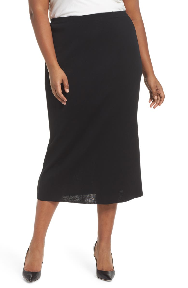 MING WANG Knit Midi Skirt, Main, color, 001