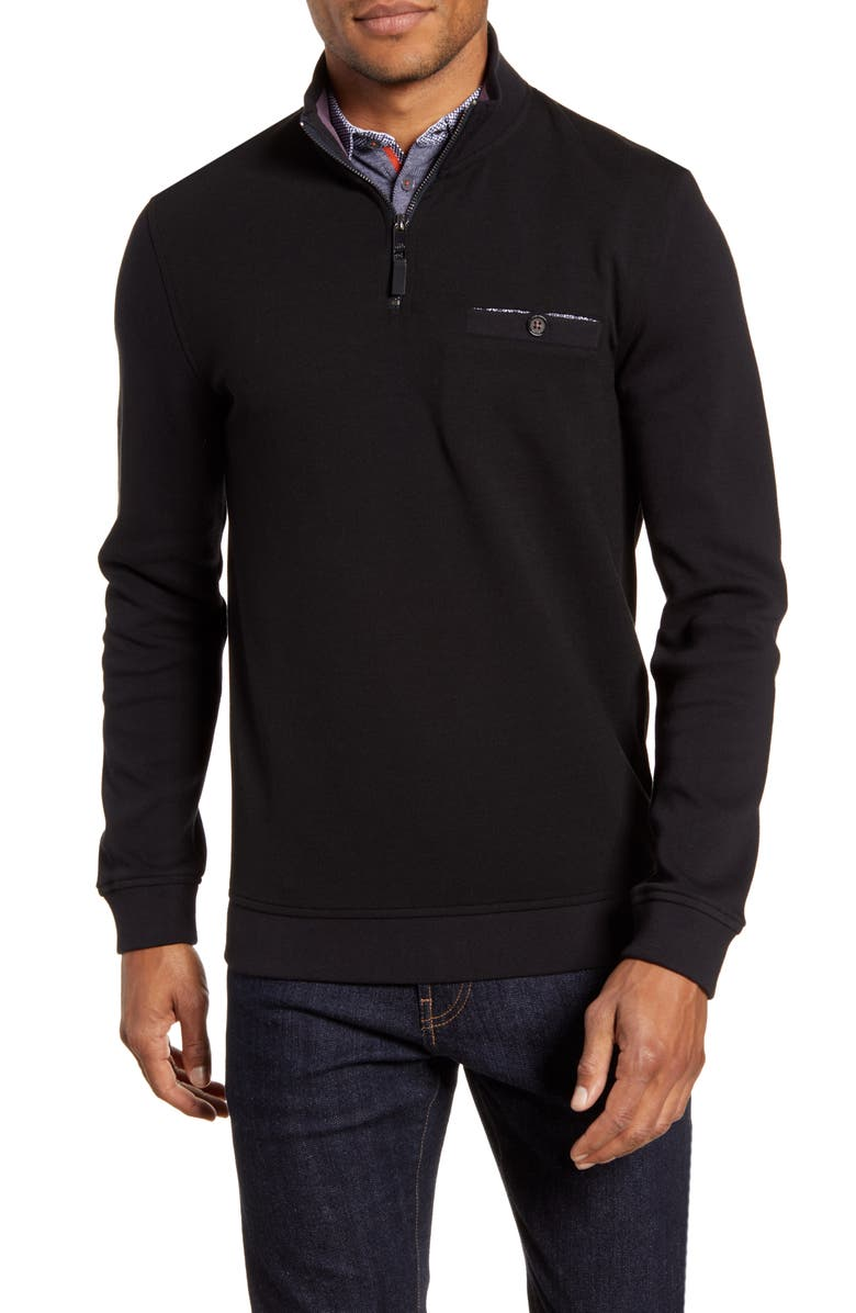 TED BAKER LONDON Curbing Slim Fit Quarter Zip Pullover, Main, color, 001