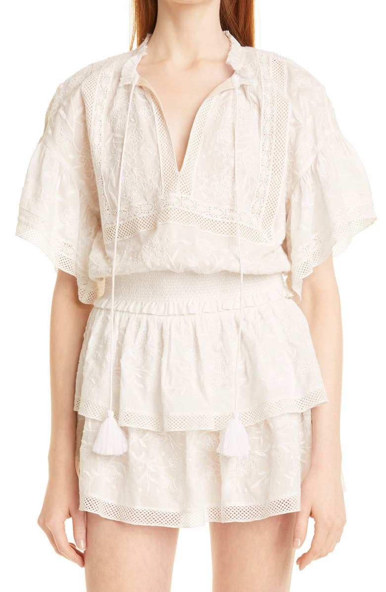 ALICE + OLIVIA Tabitha Embroidered Cotton Crop Blouse, Main, color, OFF WHITE