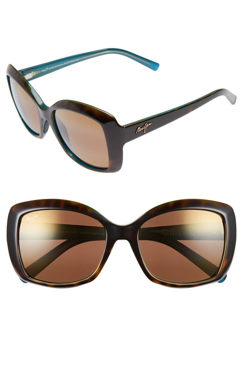 MAUI JIM Orchid 56mm PolarizedPlus2<sup>®</sup> Sunglasses, Main, color, TORTOISE PEACOCK/ HCL BRONZE