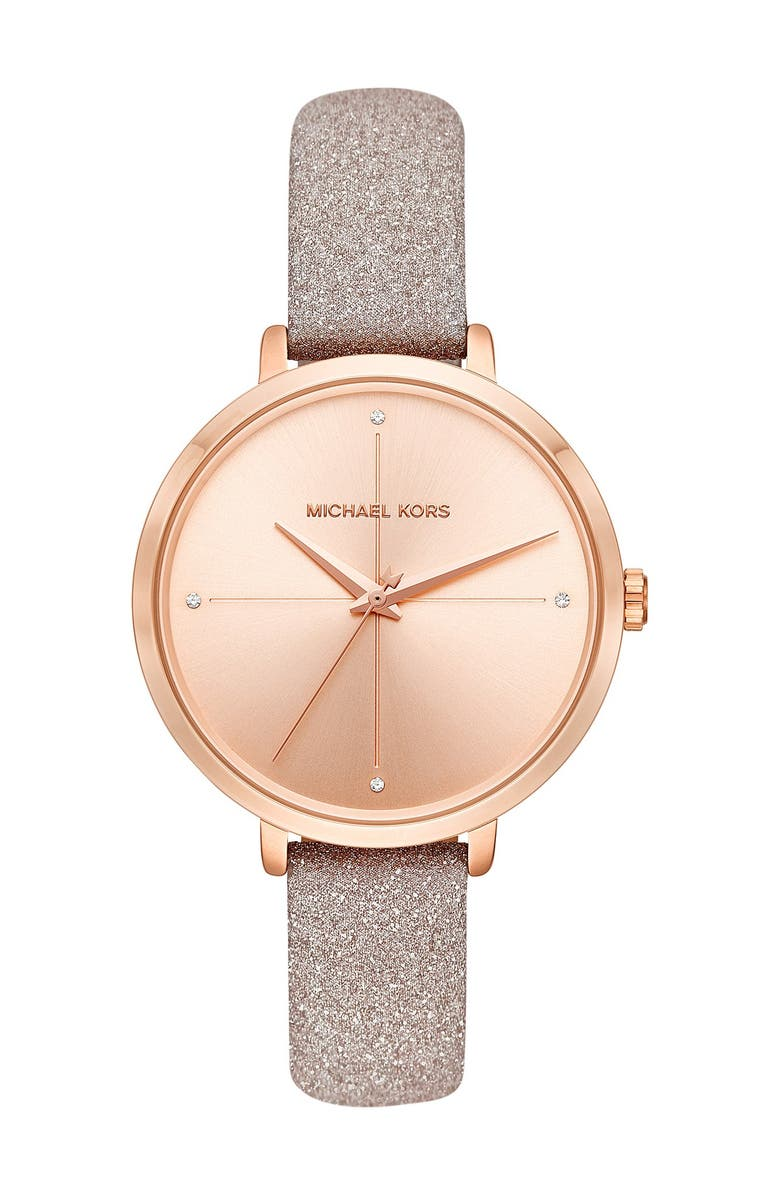 MICHAEL MICHAEL KORS Women's Charley Three-Hand Rose Gold-Tone Leather Watch, 38mm, Main, color, ROSE GOLD