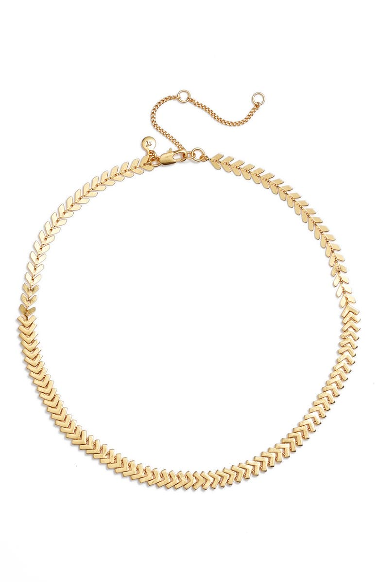MADEWELL Arrowstack Chevron Chain Necklace, Main, color, VINTAGE GOLD