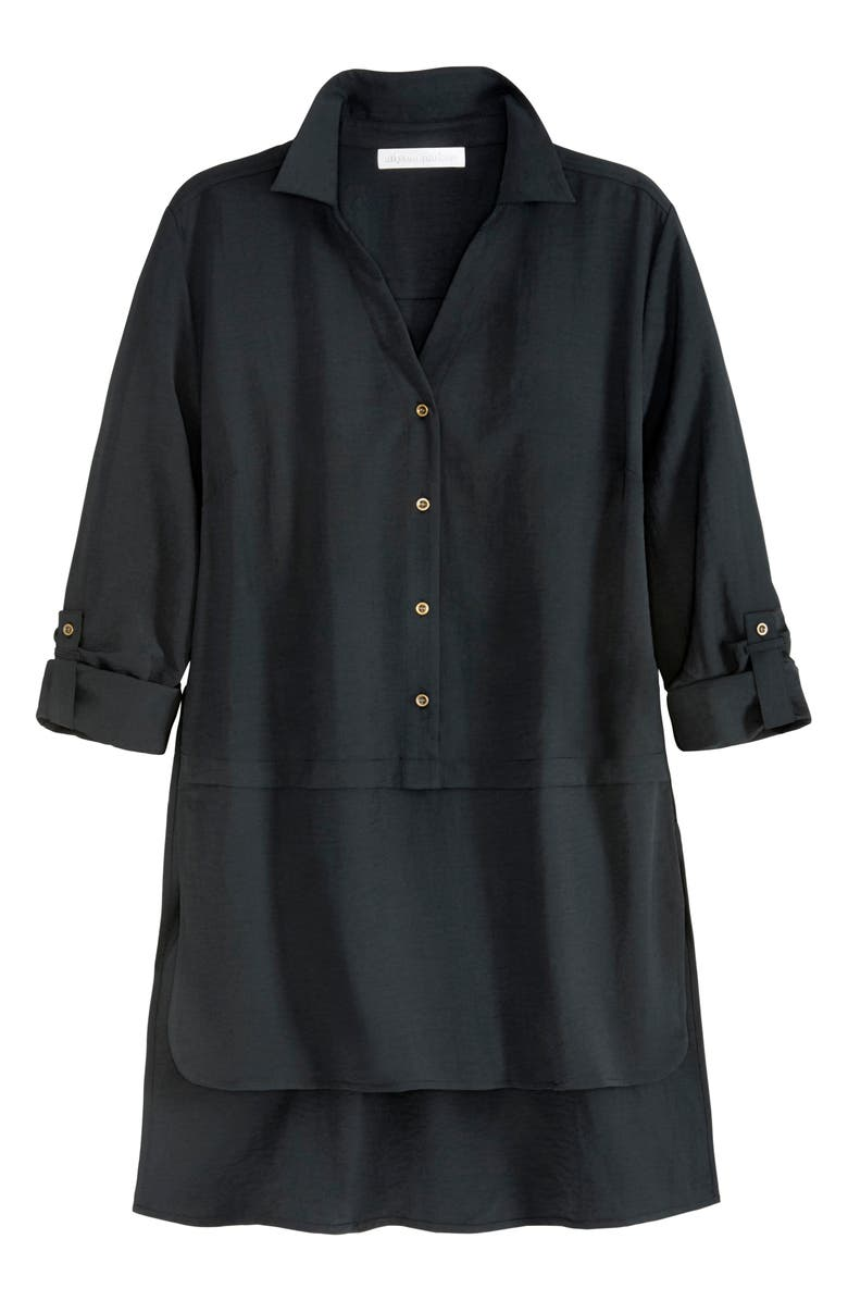 ADYSON PARKER Roll Sleeve High/Low Tunic, Main, color, BLACK