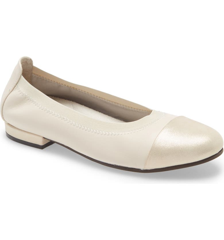 DAVID TATE Nicole Cap Toe Flat, Main, color, BONE LEATHER