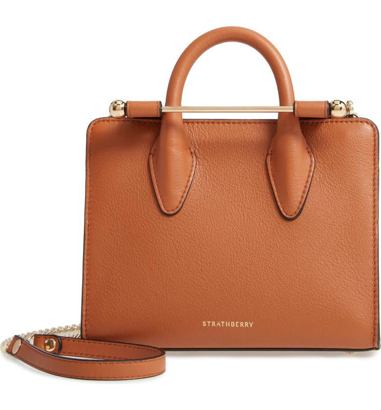 STRATHBERRY Nano Leather Tote, Main, color, TAN
