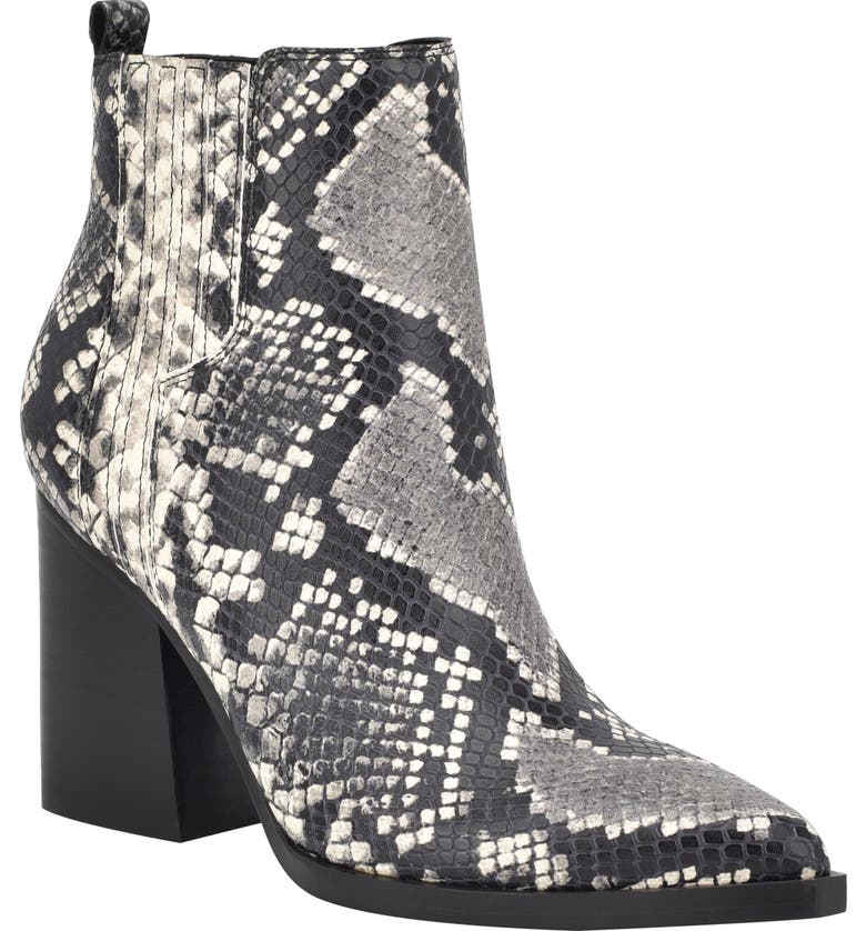MARC FISHER LTD Oshay Pointed Toe Bootie, Main, color, BLACK SNAKE PRINT