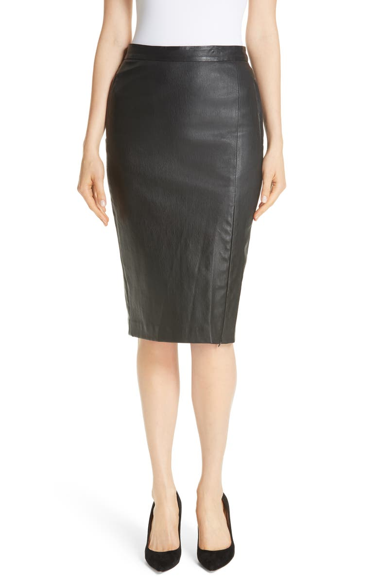 THEORY Leather Pencil Skirt, Main, color, Black