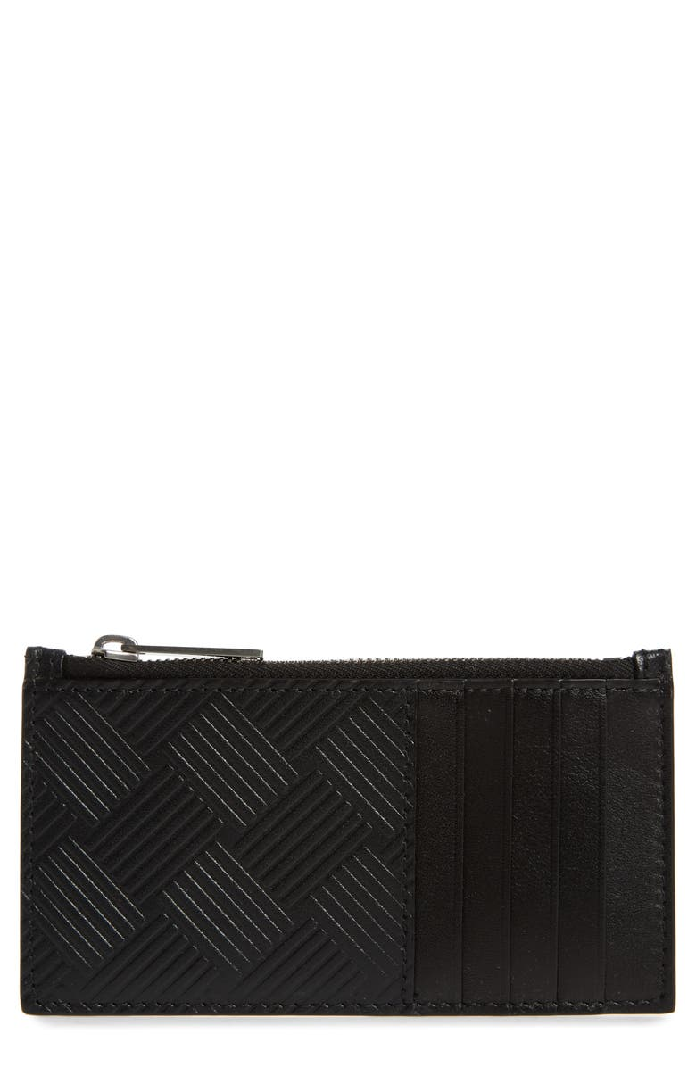 BOTTEGA VENETA Intrecciato Embossed Leather Zip Card Case, Main, color, BLACK-SILVER