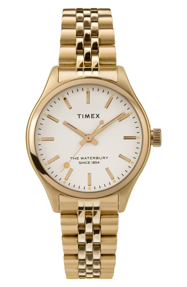 TIMEX<SUP>®</SUP> Waterbury INDIGLO Heart Bracelet Watch, 34mm, Main, color, GOLD/ CREAM/ GOLD