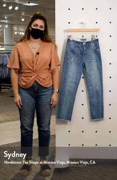 Ab-Solution Distressed High Waist Ankle Straight Leg Jeans, sales video thumbnail