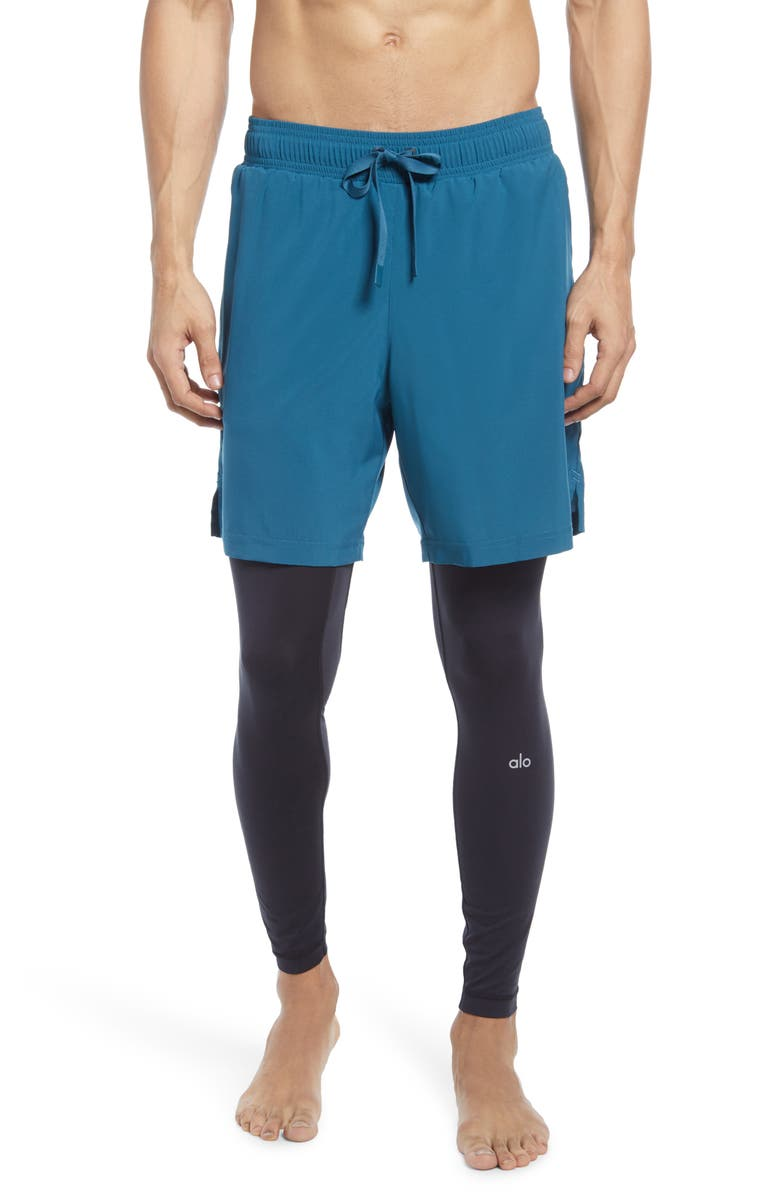 ALO Stability 2-in-1 Athletic Tights, Main, color, MINERAL BLUE/ BLACK