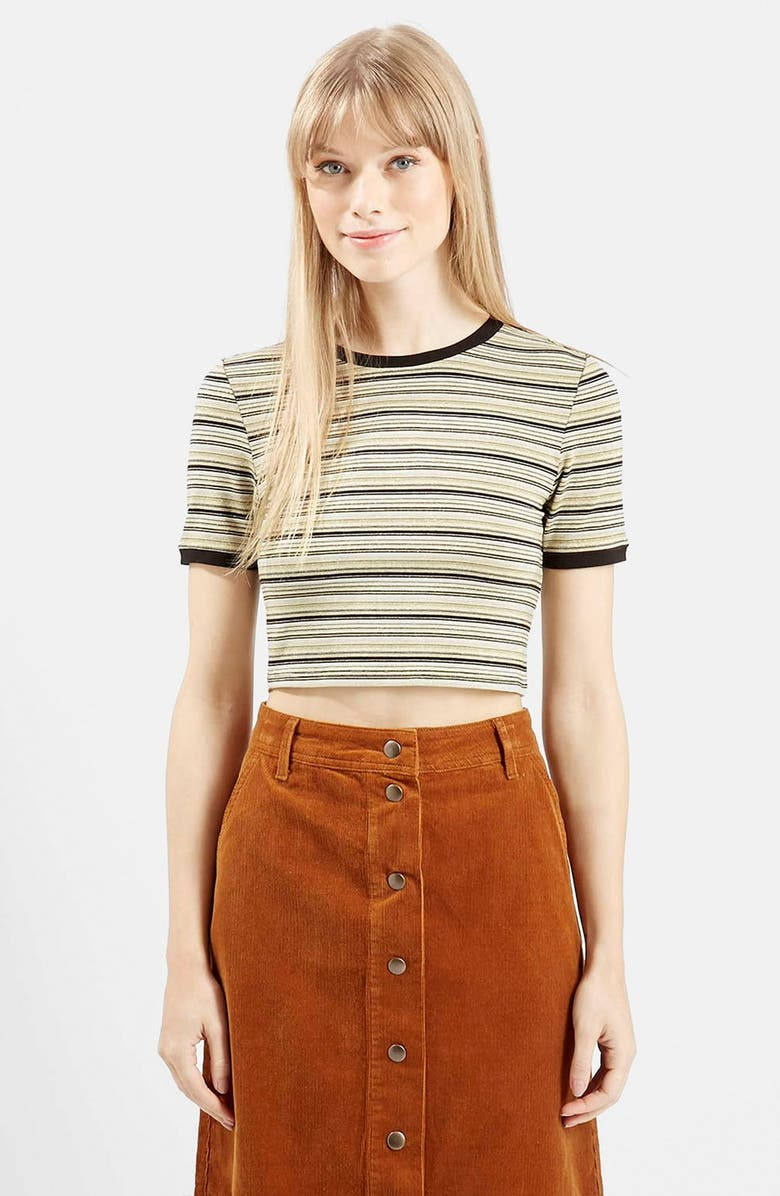 TOPSHOP Short Sleeve Crop Tee, Main, color, 210
