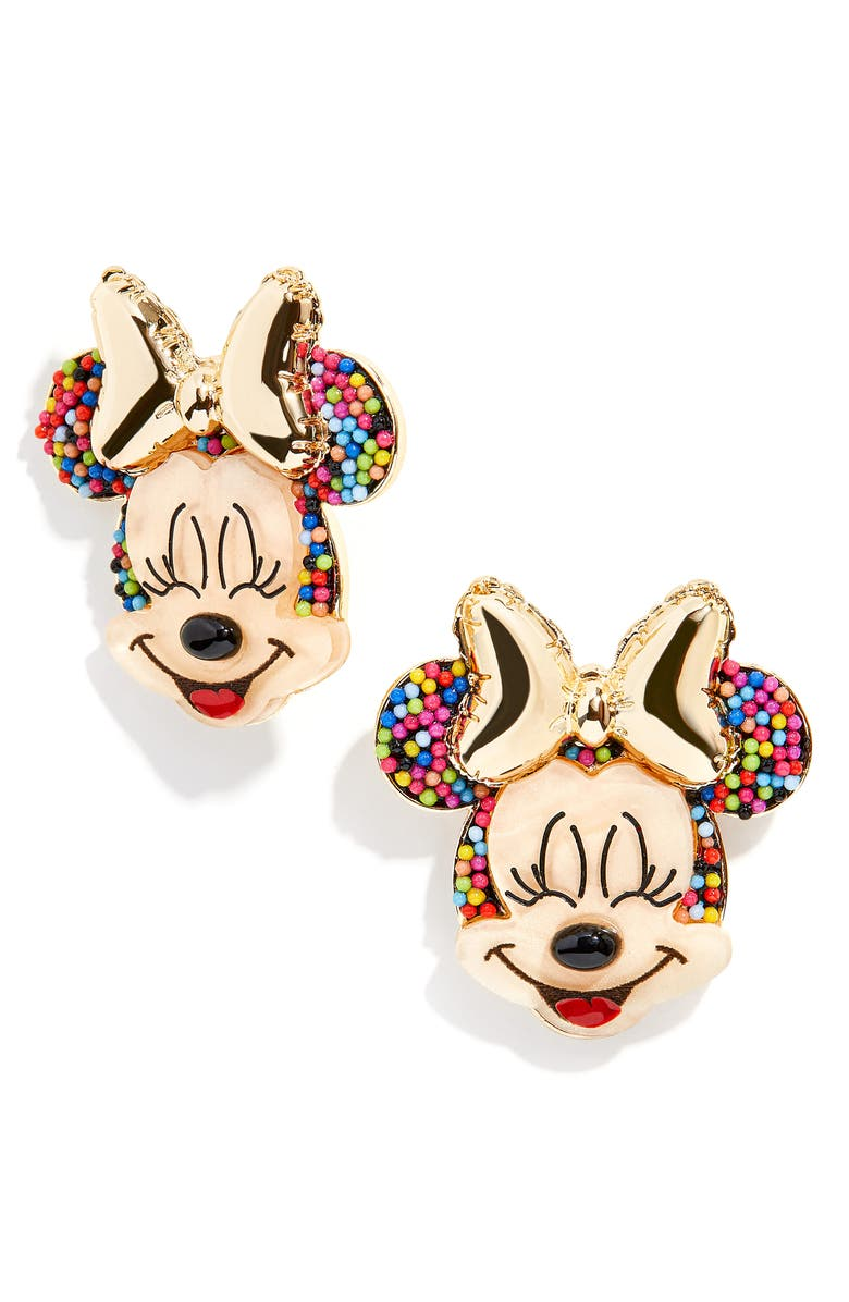 BAUBLEBAR Disney<sup>®</sup> Birthday Minnie Mouse Statement Stud Earrings, Main, color, MULTI