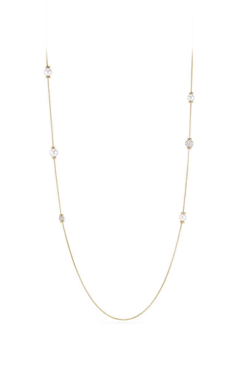 DAVID YURMAN Solari Long Station Necklace with Pearls & Diamonds in 18K Yellow Gold, Main, color, 710