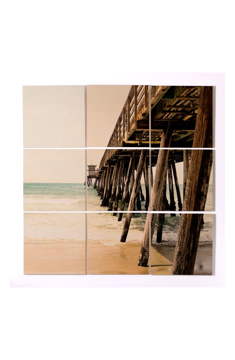 DENY DESIGNS Down by the Pier 9-Piece Wood Wall Mural, Main, color, GREY