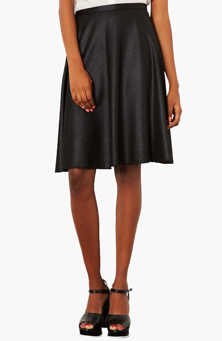 TOPSHOP Textured A-Line Skirt, Main, color, 001