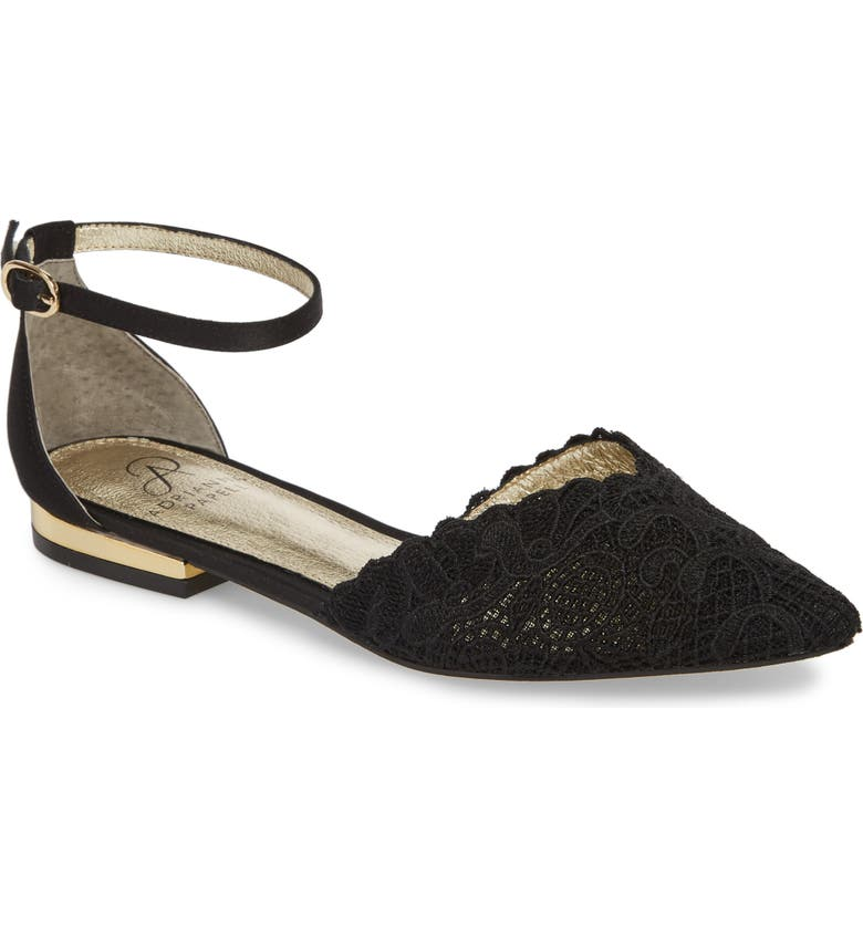 ADRIANNA PAPELL Trala Ankle Strap Flat, Main, color, BLACK FABRIC