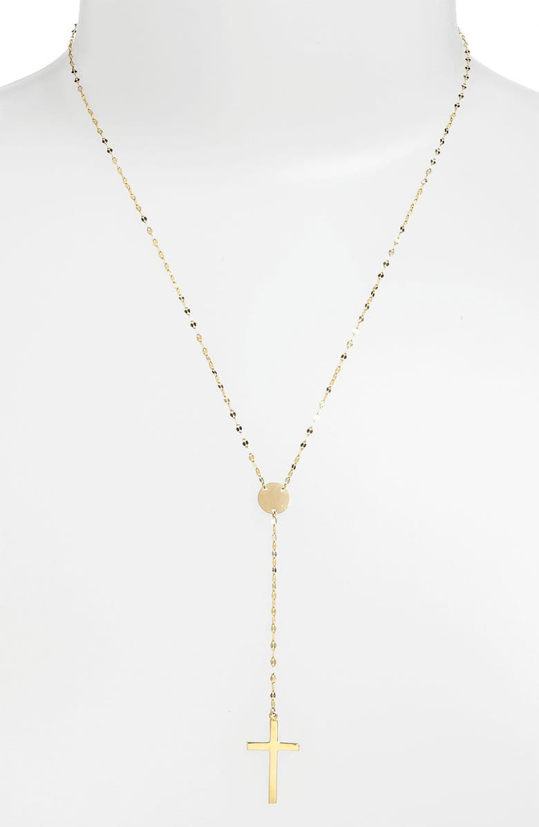 LANA JEWELRY Crossary Y-Necklace, Main, color, YELLOW GOLD
