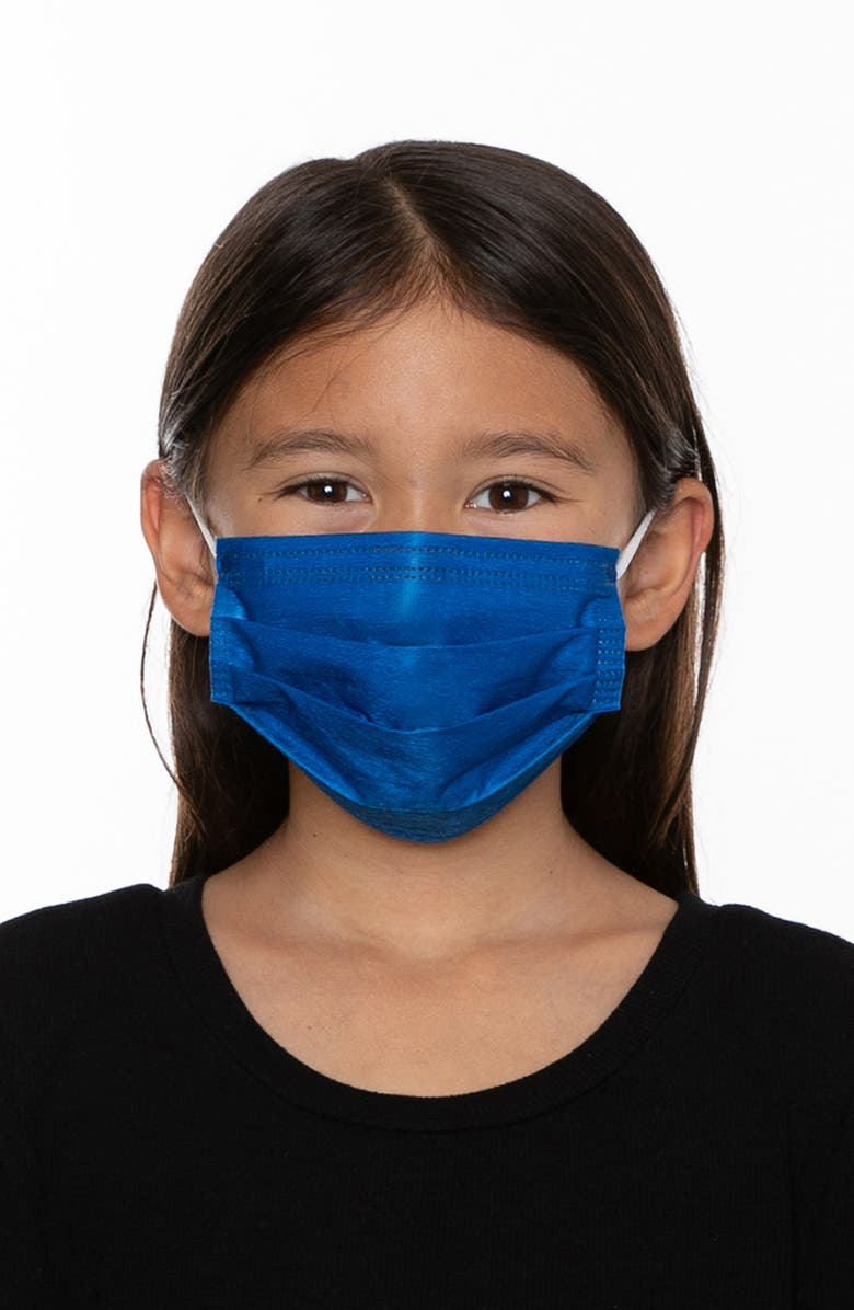 MEDIPOP 5-Pack Kids' Disposable Pleated Face Masks, Main, color, NEON BLUE