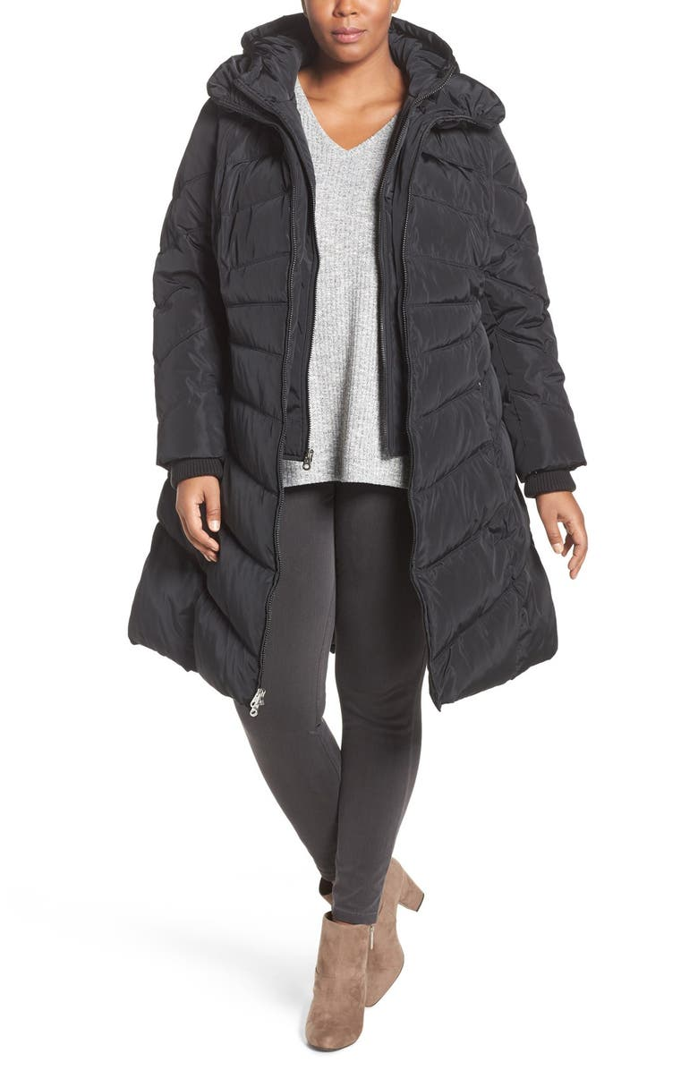 JESSICA SIMPSON Hooded Vest Inset Puffer Coat, Main, color, 001