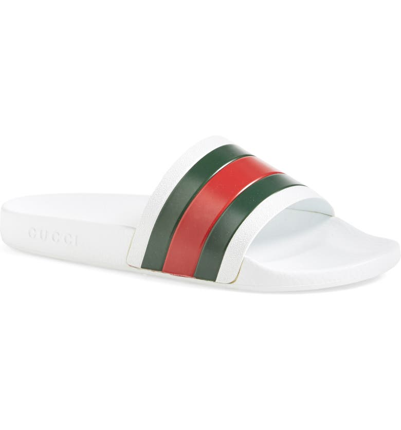 GUCCI '72 Sport Slide, Main, color, WHITE