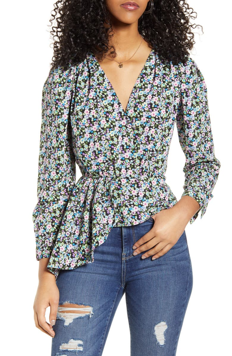 ONLY Ria Floral Print Peplum Top, Main, color, 001