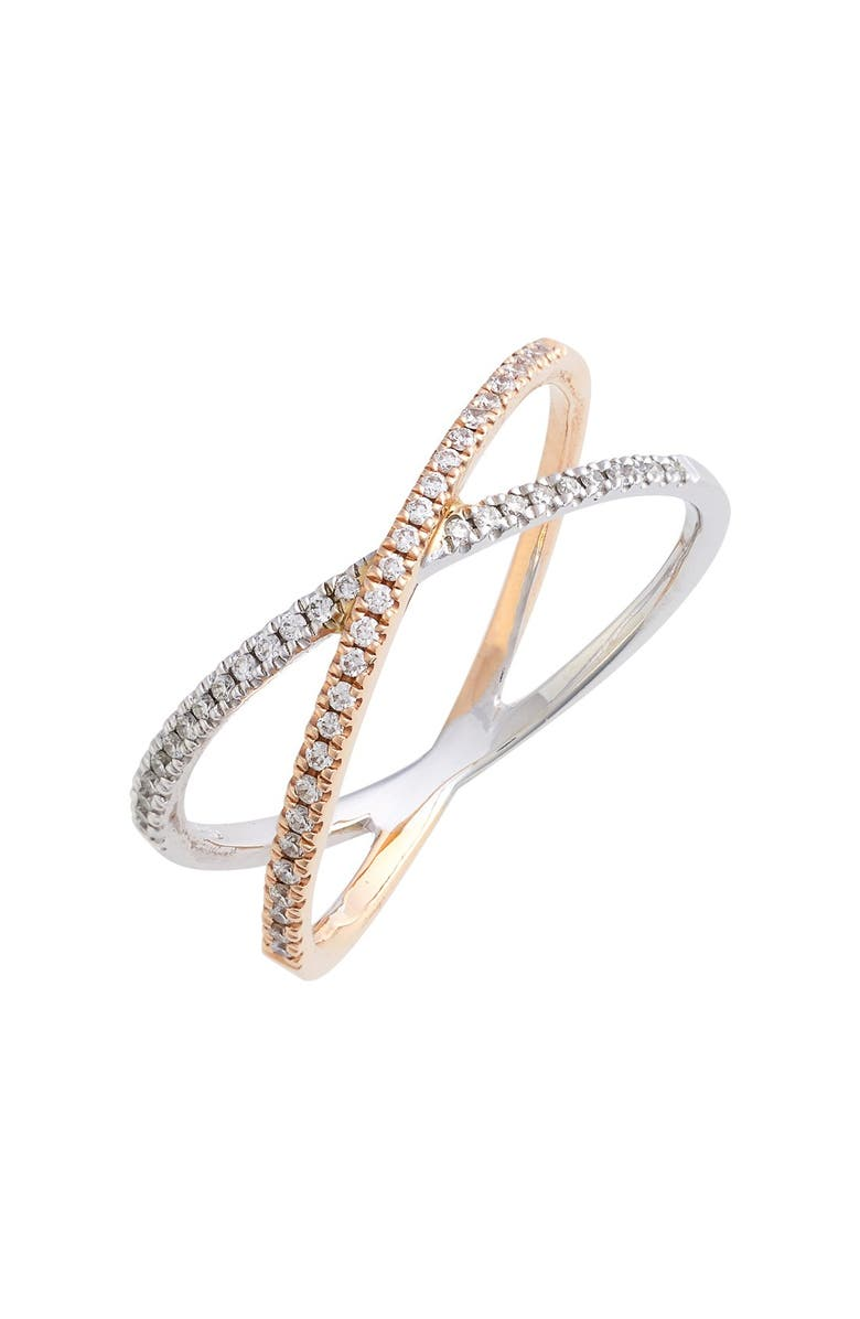 BONY LEVY Stackable Crossover Diamond Ring, Main, color, WHITE GOLD/ ROSE GOLD
