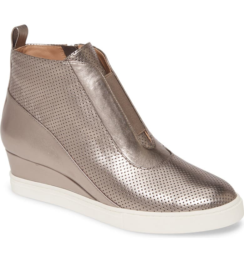 LINEA PAOLO Anna Wedge Sneaker, Main, color, PEWTER LEATHER