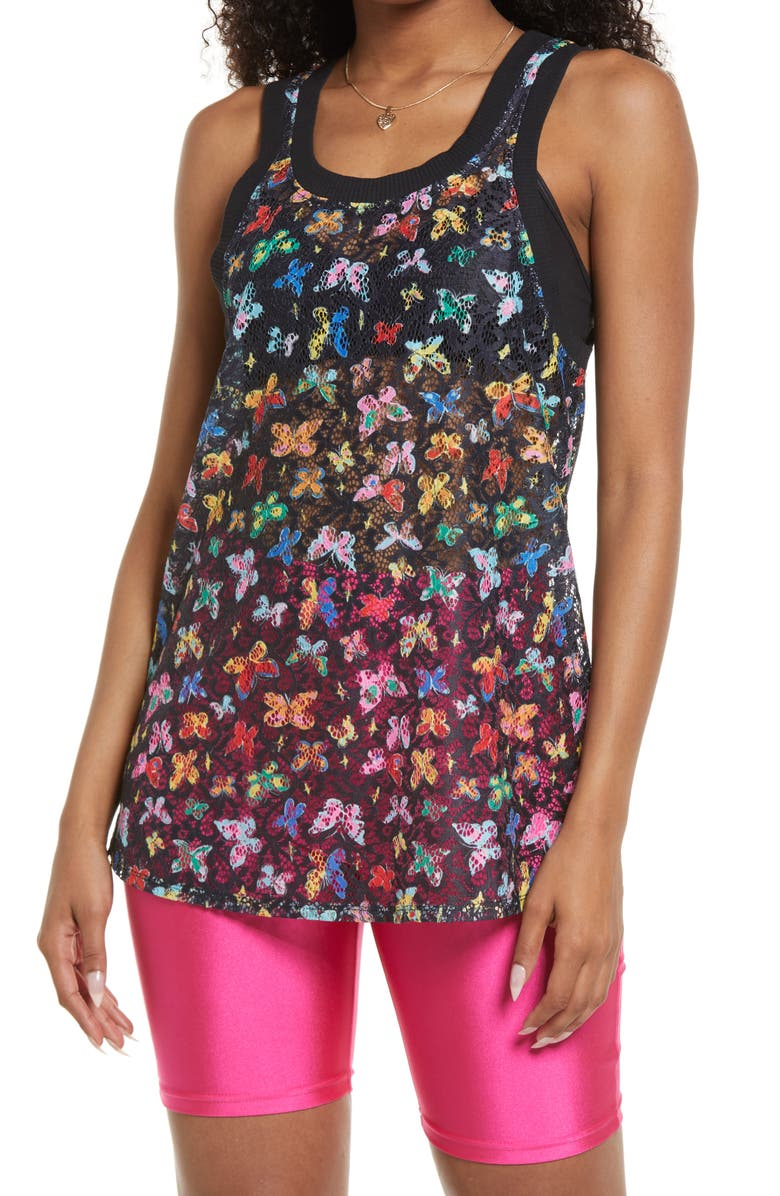BP. Be Proud by BP Gender Inclusive Butterfly Lace Tank, Main, color, BLACK PENCILED BUTTERFLIES