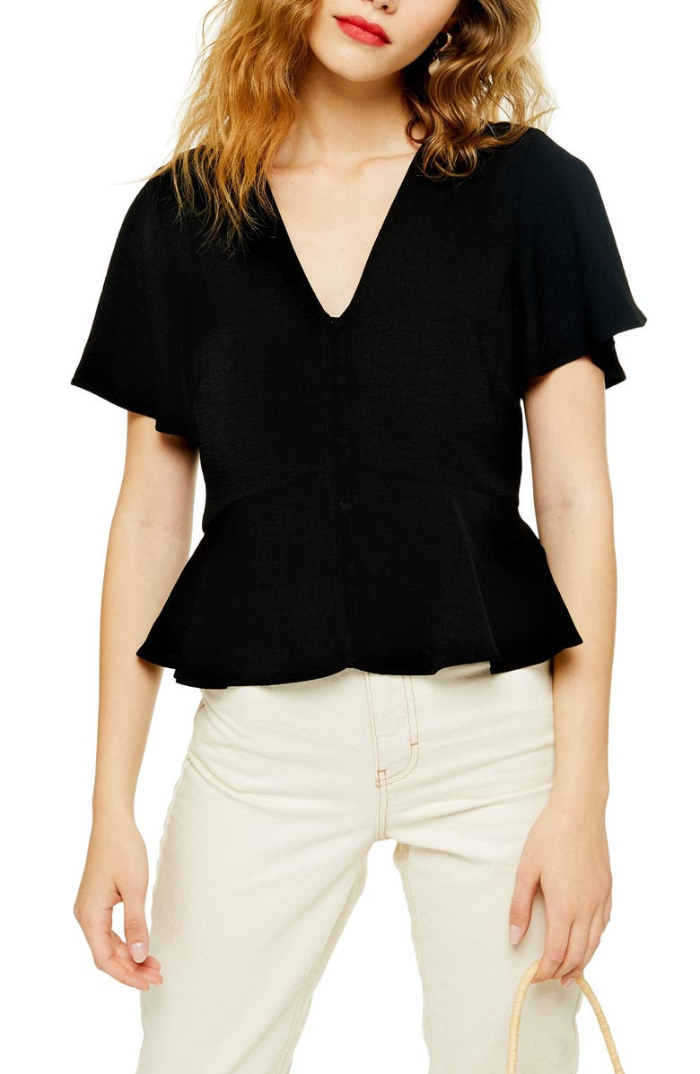 TOPSHOP Meghan Front Button Top, Main, color, 001