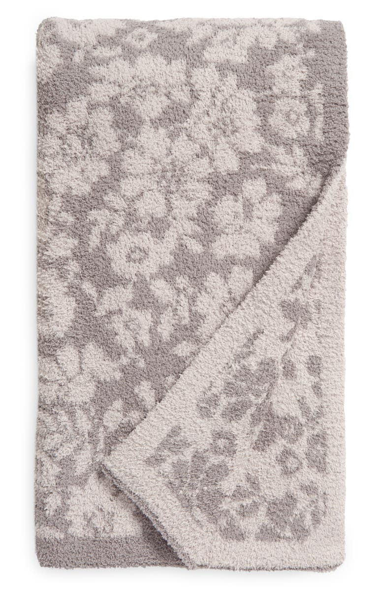 BAREFOOT DREAMS<SUP>®</SUP> CozyChic<sup>™</sup> Floral Throw Blanket, Main, color, DOVE GREY/ SILVER