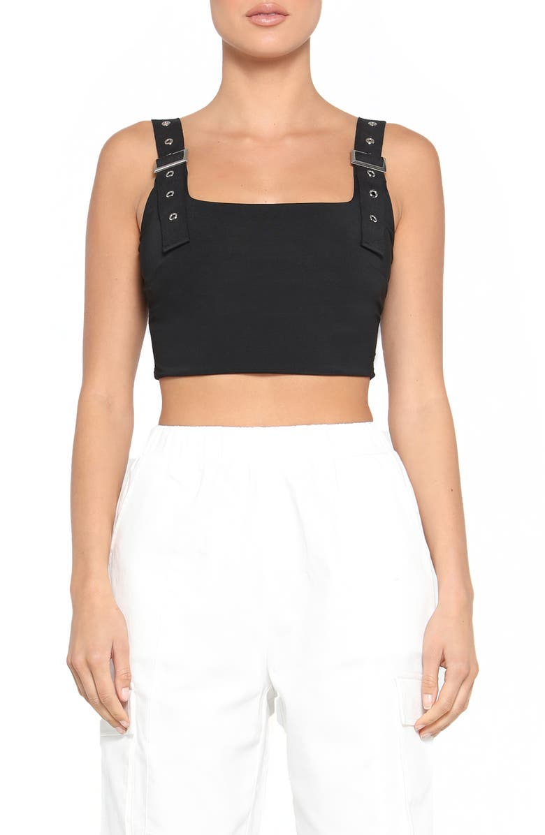 TIGER MIST Kailey Utility Strap Crop Top, Main, color, 001