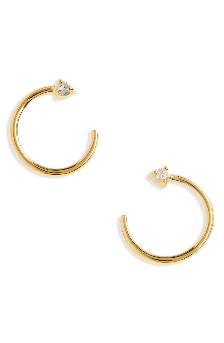 MADEWELL Delicate Collection Demi Fine White Topaz Open Huggie Hoop Earrings, Main, color, WHITE TOPAZ