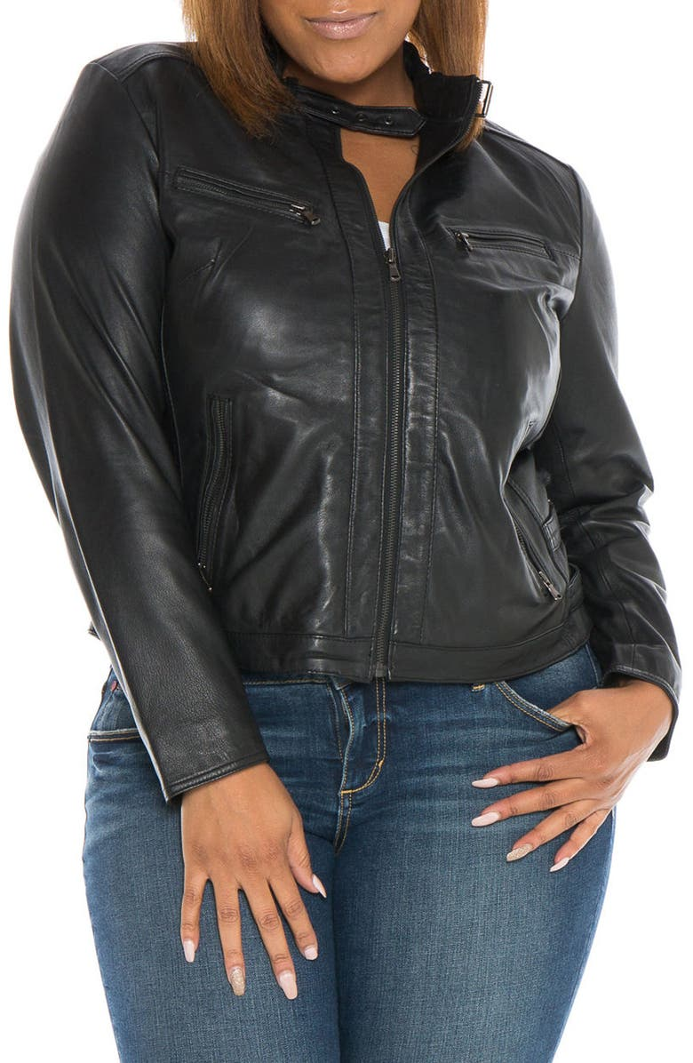 SLINK JEANS Fitted Leather Moto Jacket, Main, color, 001