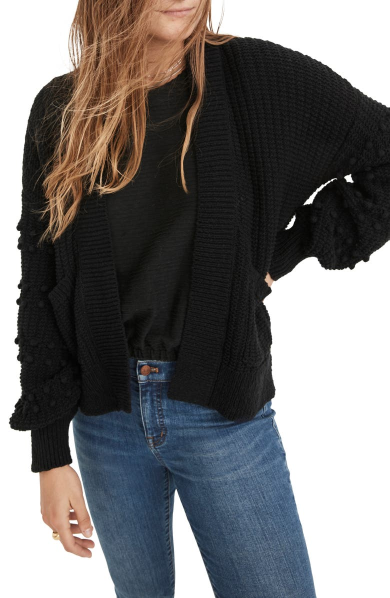 MADEWELL Bobble Cardigan Sweater, Main, color, 001