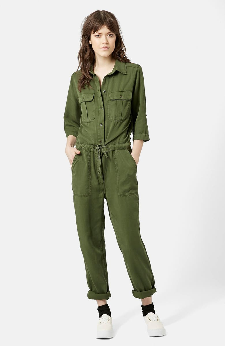 TOPSHOP 'All in One' Utility Jumpsuit, Main, color, 300