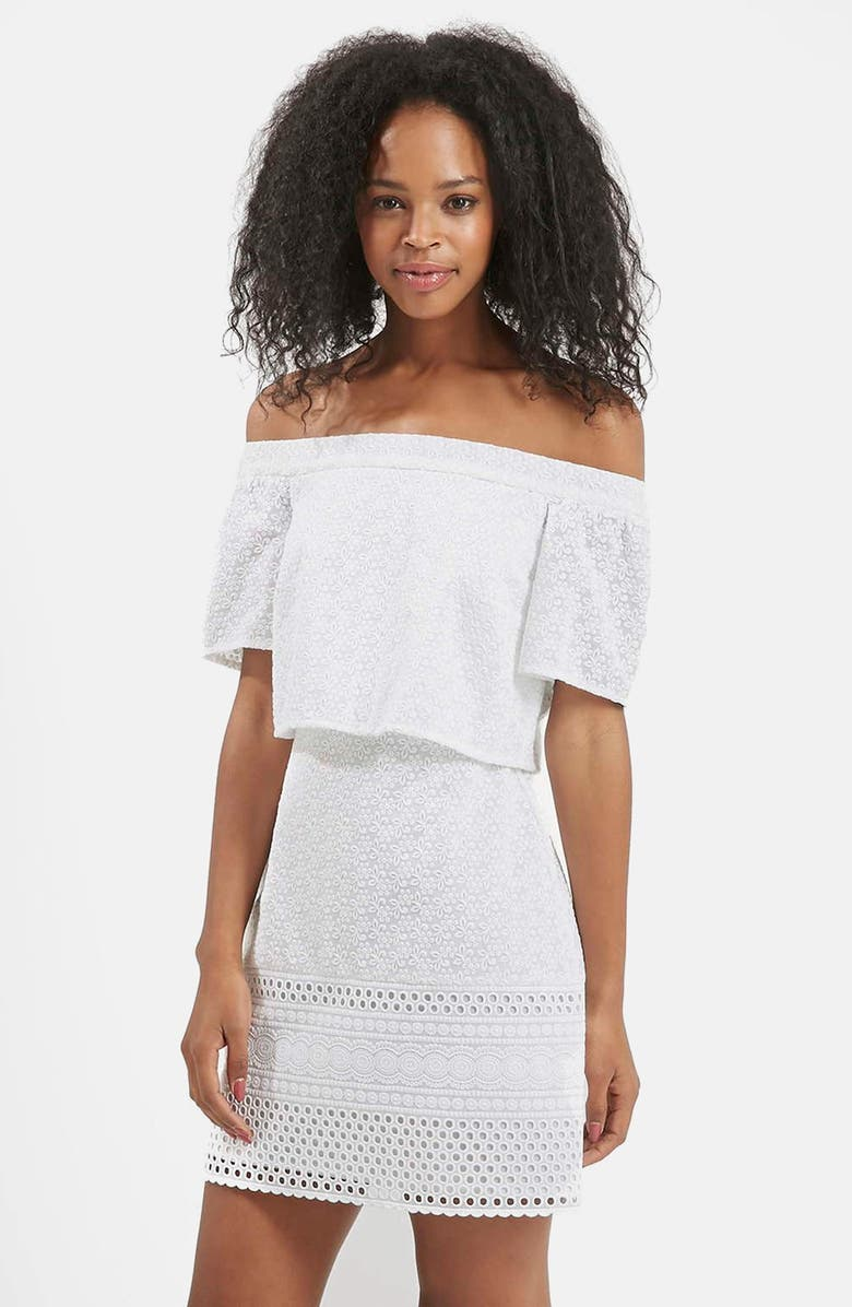 TOPSHOP Embroidered Off the Shoulder Dress, Main, color, White
