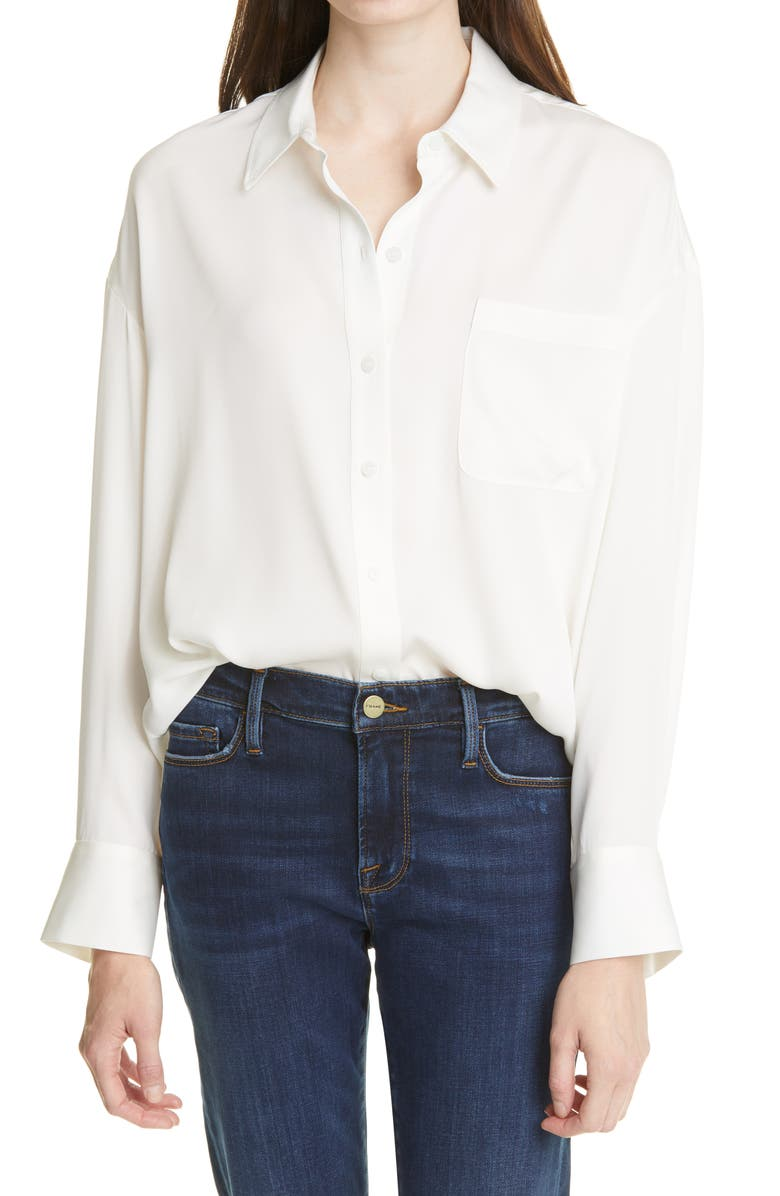 NORDSTROM SIGNATURE Relaxed Stretch Silk Shirt, Main, color, IVORY CLOUD