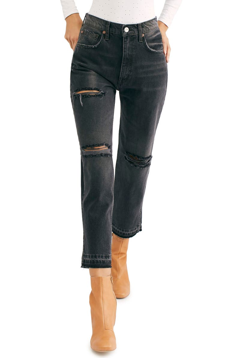FREE PEOPLE Lita Crop Straight Leg Jeans, Main, color, 001