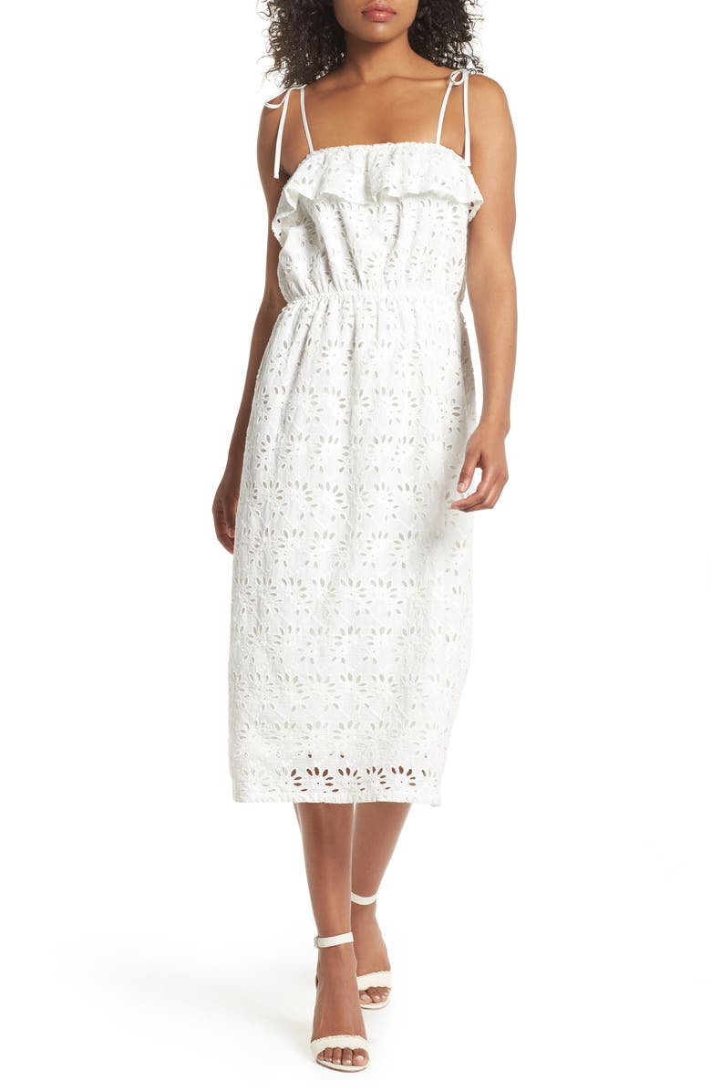 FIRST MONDAY Ruffle Broderie Anglaise Sundress, Main, color, OFF-WHITE