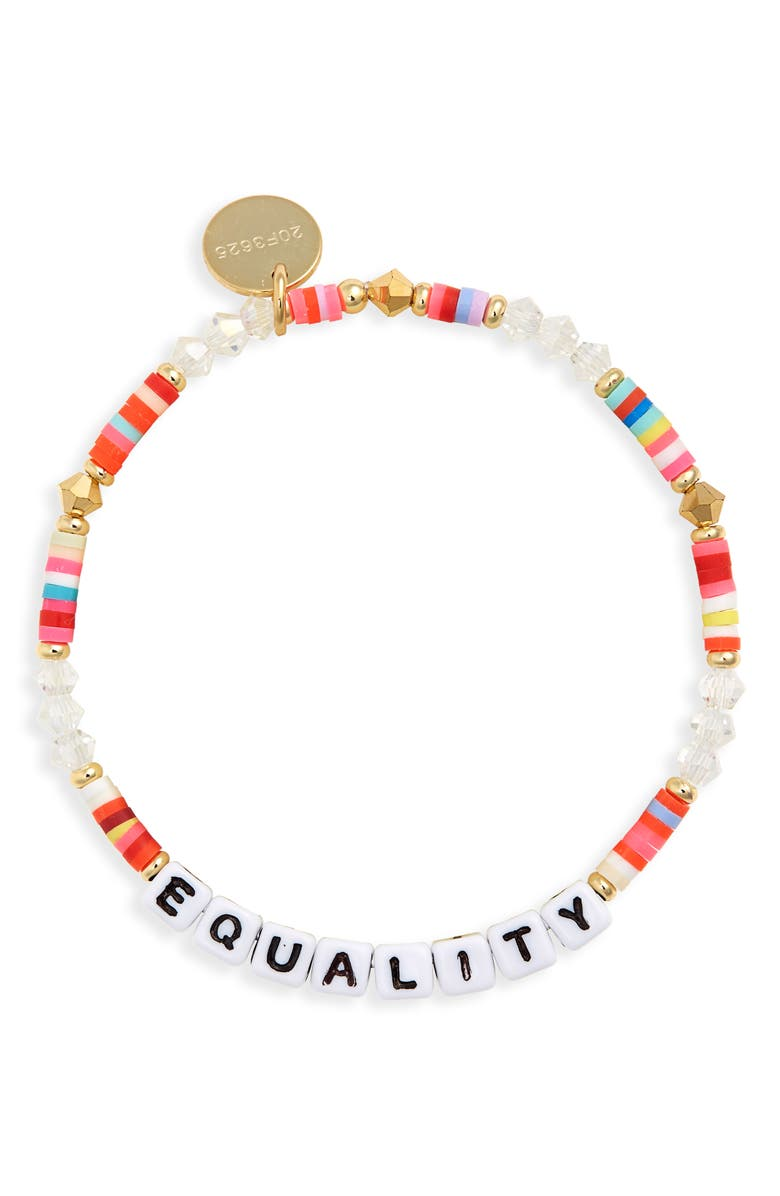 LITTLE WORDS PROJECT Equality Beaded Stretch Bracelet, Main, color, MULTI