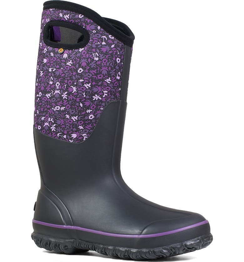 BOGS Classic Tall Freckle Insulated Waterproof Rain Boot, Main, color, BLACK MULTI RUBBER