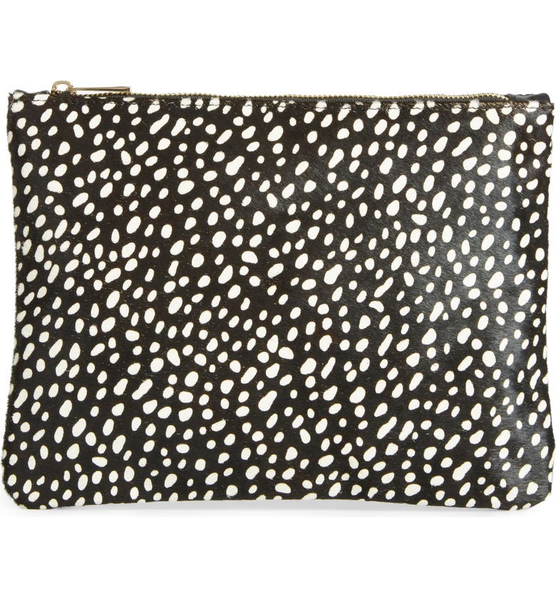 SOLE SOCIETY 'Dolce' Genuine Calf Hair Clutch, Main, color, 001