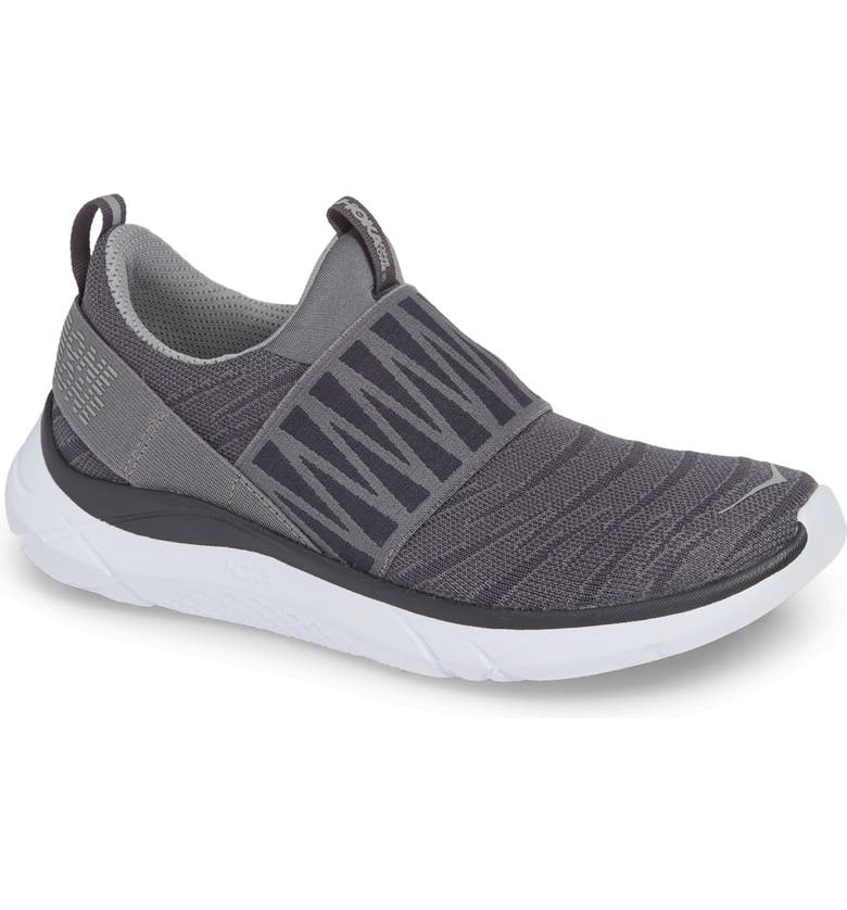 HOKA ONE ONE Hupana Knit Jacquard Slip-On Running Shoe, Main, color, NINE IRON/ STEEL GREY