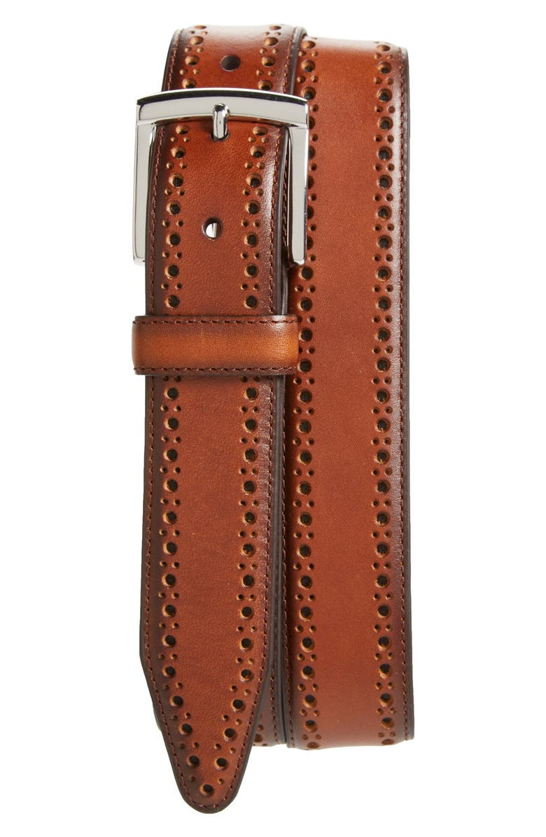 JOHNSTON & MURPHY Perforated Leather Belt, Main, color, TAN