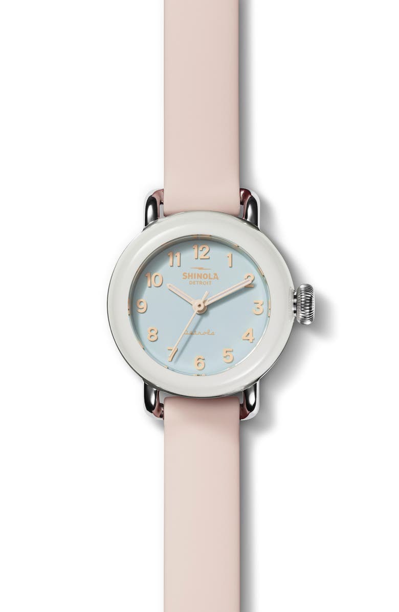 SHINOLA Detrola Pee Wee Silicone Strap Watch, 25mm, Main, color, SOFT TEAL