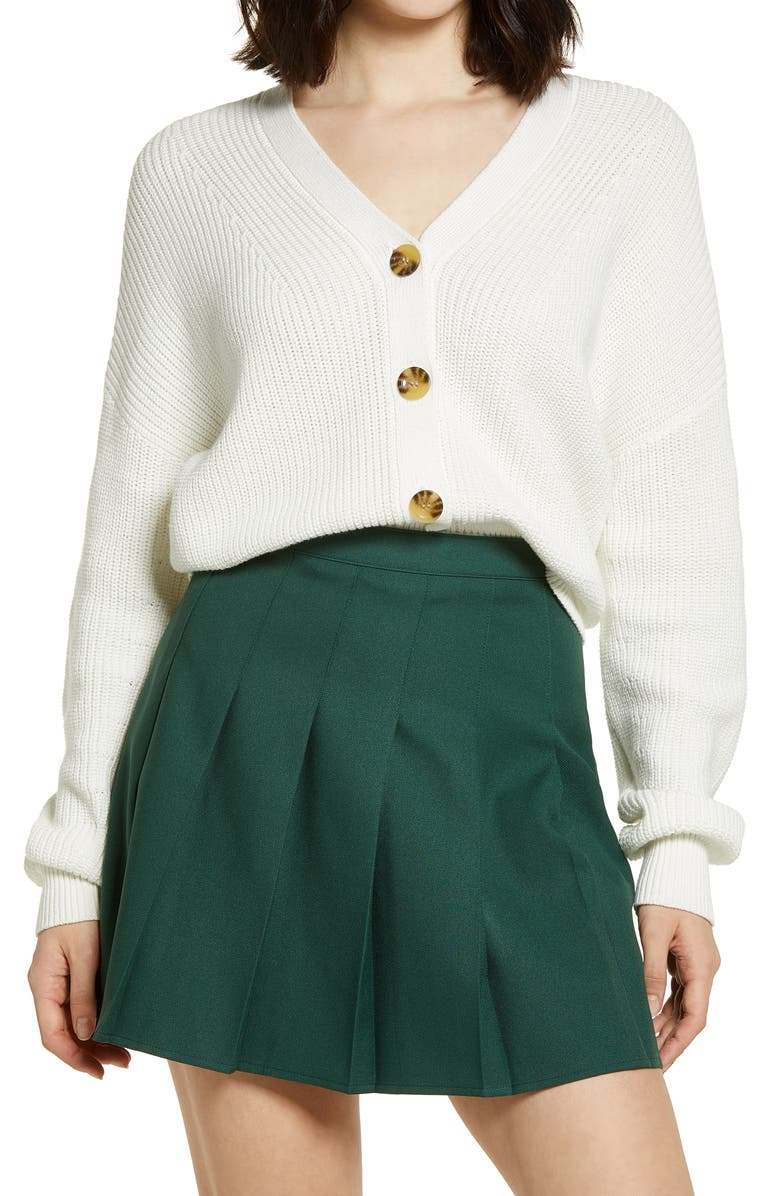BP. Easy Button Front Cardigan, Main, color, IVORY
