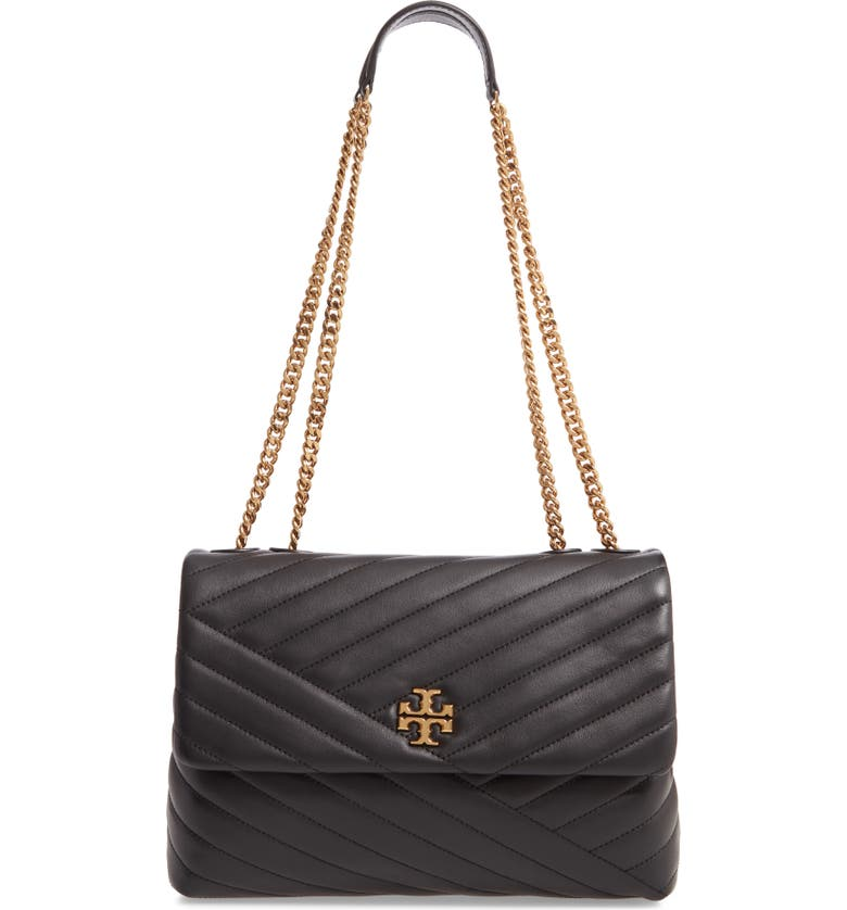 TORY BURCH Kira Chevron Leather Crossbody Bag, Main, color, BLACK